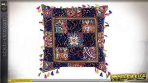 Gros coussin patchwork multicolore en coton épais, pompons et reliefs, 40x40