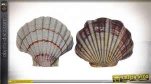 Série de deux coussins en forme de coquillage, ambiance bord de mer originale, 47cm
