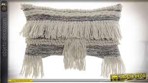 Gros coussin en laine et coton, de style boho, longues franges blanches, 1.25kg