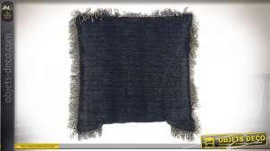 Coussin en coton épais finition bleu effet jeans, franges blanches 45x45