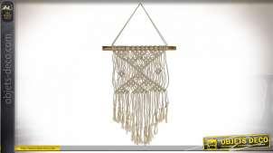 DÉCORATION SUSPENSION ROTIN 35X1,5X65 MACRAMÉ