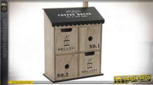 BOITE BOIS MÉTAL 23,5X10,5X31 0,61 CAFÉ