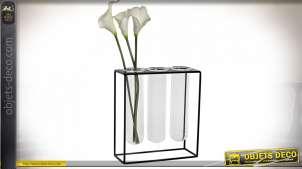 Vase moderne en métal style éprouvettes de laboratoire, support en métal noir