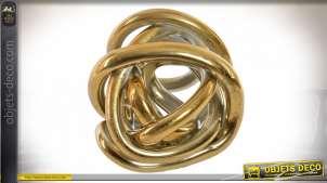 Sculpture en verre style abstrait finition dorée, 15cm
