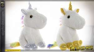 PELUCHE POLYESTER LED 20X20X36 LICORNE 2 MOD.