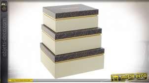 Lot de trois boite en carton de rangement ou d'emballage d'anniversaire, esprit Art Déco avec inscription