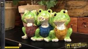 Statuette de jardin ou terrasse en résine, 3 grenouilles aux couleurs vieillies