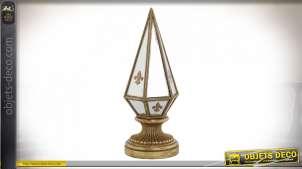 Décoration à poser pour bibliothèque ou bureau, en résine et miroir ambiance fleur de lys dorée, élégant et chic, 29cm