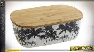 Boite à pain avec couvercle, en bambou imprimé de motifs de feuilles de palmiers