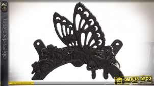 Support mural en fonte finition effet ancien, pour tuyaux d'arrosage en forme de papillon, 25cm