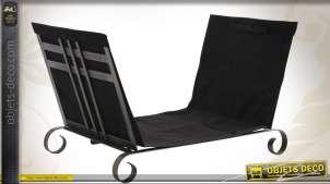 Porte bûche repliable métal et coton noir
