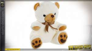 PELUCHE POLYESTER 25X22X30 OURS BLANC