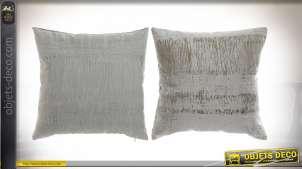 Série de deux coussins en polyester, motifs argentés et dorés, style moderne contemporain