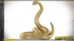 Statuette de serpent à sonnette en résine finition dorée esprit Egyptien, 18cm