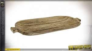 Centre de table en bois, richement veiné et texturé finition naturel brulé