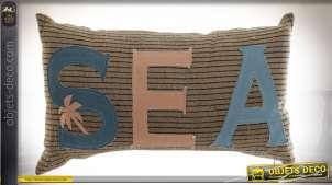 Coussin rectangulaire jute inscription Sea beige et bleu