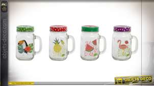 PICHET SET 4 VERRE 10,5X7,5X13 000 ML. TROPICAL