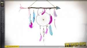 Attrape rêves en bois et plumes, grande flèche avec suspensions finition rose