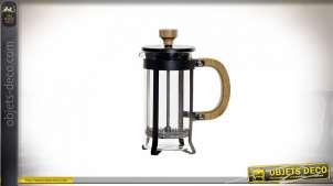 CAFETIERE INOX BAMBOU 13X7,5X17 350ML NOIR