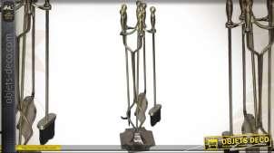 Valet de cheminée en métal finition laiton avec 4 accessoires