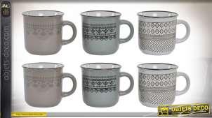 Série de 6 tasses à café en grès, motifs de style sud américain incas, 90ml