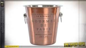 Seau à champagne en inox esprit bistro Parisien finition cuivrée, 22cm