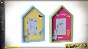 Série de 2 cadres photos en forme de maisonnette et motifs de lamas, ambiance chambre d'enfant, 30cm
