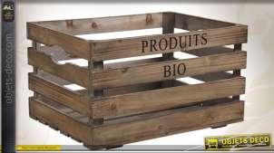 Caisse à récolte en bois marqué