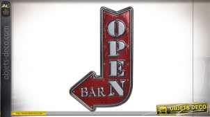 Décoration autocollante représentant un ancien insigne de bar, finition vieux rouge et argenté effet métal, LED, 39cm