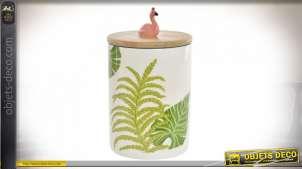 Pot décoratif en porcelaine et bambou naturel, motifs de feuilles tropicales et petit flamand rose sur le couvercle, 16cm