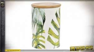Pot décoratif en céramique avec couvercle en bambou naturel, motifs de feuilles tropicales, 14cm