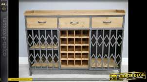 Meuble bar bois et métal style industriel casier à bouteilles