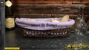 Banneton en osier brut avec doublure en coton épais finition lavande, broderie frontale Saveurs de Provence, 38cm