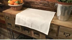 Chemin de table rectangulaire en lin et coton, coloris blanc cassé, 150 cm