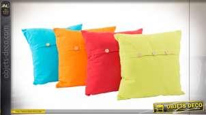 Série de 4 coussins carrés décoratifs, en coton coloré avec boutons sur l'arrière, 40x40cm