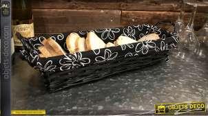 Banneton en osier teinté noir charbon, doublure en coton épais avec motifs de fleurs tropicales blanches, 44cm
