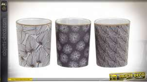 Série de 3 bougies décoratives parfumées, ambiance exotique avec verres décoratifs, Ø5cm
