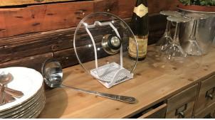 Support en métal laqué blanc pour ustensile de cuisine et couvercle, 18cm