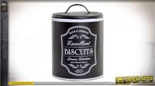 Pot à biscuit en métal de style vintage en finition noire, avec couvercle et inscription blanche sur la partie frontale, 19cm