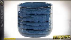 Pot décoratif en grès finition bleu pétrole moucheté noir, de style moderne, effet texturé, 13cm