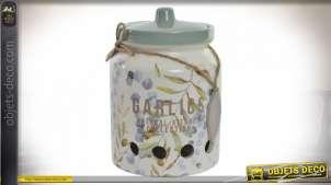 Pot à ail en grès aux couleurs vintage, avec couvercle et petite corde, motifs de feuilles, accessoire de cuisine, 17cm