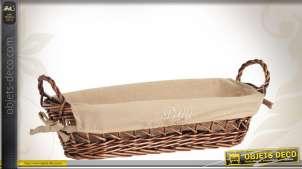 Banneton oval en osier teinté doublé 100 % coton