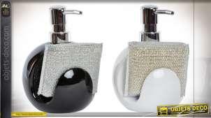 Série de deux doseurs de salle de bain ou cuisine avec éponge métallique intégrée, noir et blanc, 15cm