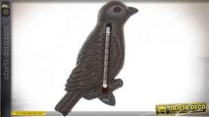 Thermomètre mural en fonte en forme d'oiseau, finition effet ancien, 19cm