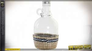 BOUTEILLE VERRE ROTIN 11,5X11,5X22,5 1120