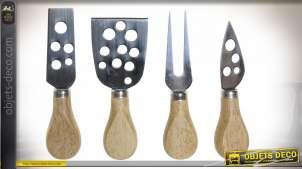 Set d'accessoires pour la présentation et la découpe du fromage, en inox et manches en bambou