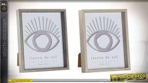 Série de deux cadres photos en bois et verre finitions modernes, esprit bois clair et foncé, 20x25cm
