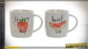 MUG PORCELAINE 12X9X9 360 ML. FRUIT 2 MOD.