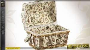 Boîte à couture en tissu de style rétro