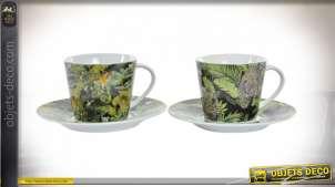 Série de deux tasses et assiettes en porcelaine imprimées de motifs tropicaux ambiance jungle, 220ml